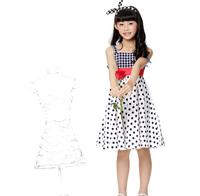 Free shipping 2014 summer new arrivales girls dresses one-piece dress girls party dress dot dress
