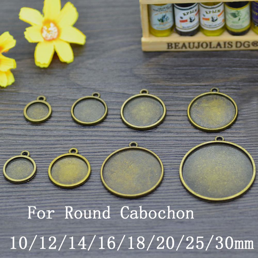 10PCS Bronze Tone Frame Blank Pendant Charm Tray Round Cabochon Setting 10/12/14/16/18/20/25/30mm(China (Mainland))