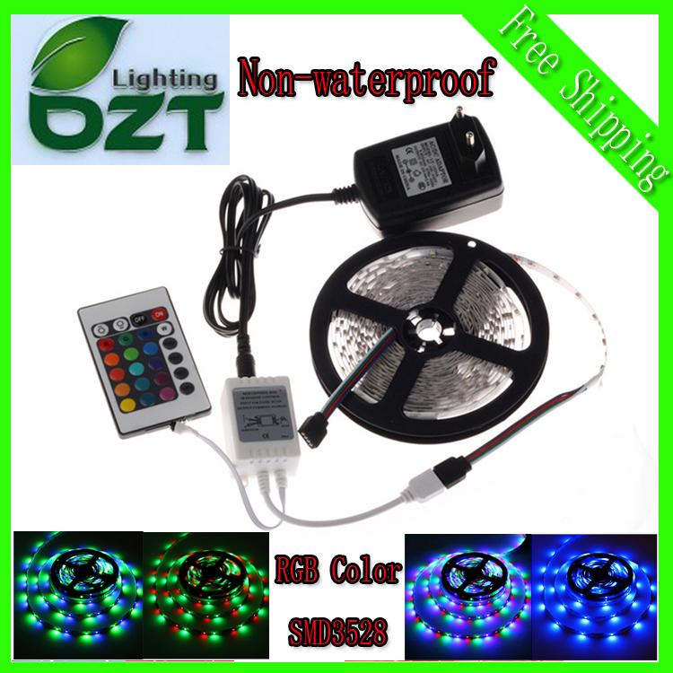 RGB LED Strip 5M 300Led 3528 SMD 24Key IR Remote Controller 12V 2A Power Adapter Flexib