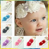 habi accessories baby girl shabby headband pearl flowers elastic hair bands,baby boy hair hair accessory tiara #8N0020 15pcs/lot