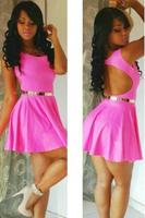 Sleeveless Glowing Pink Slash Scoop Skater Dress LC21135 Elegant Fashion Women Clothes 2015 Summer Hot Girl Party Club Dresses