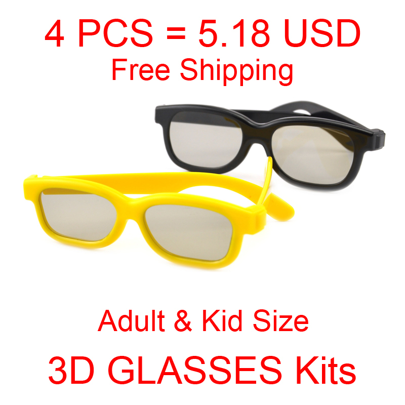 (4 pieces/lot) Super Discount Family Adult & Kid Passive Polarized 3D Glasses Suit for LG Passive 3D TVs and RealD Cinema(China (Mainland))