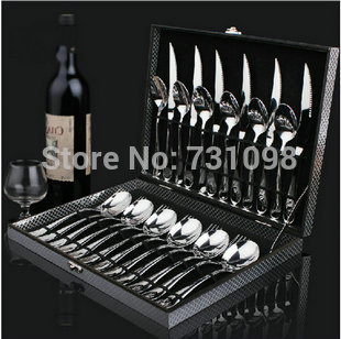 High quality stainless steel cutlery set, 24pieces flatware set in nice MDF case(China (Mainland))