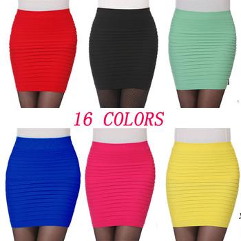 Самый дешевый бесплатная доставка новинка 2015 летние женщины юбки высокой талии конфеты цвет Большой размер упругой плиссированные короткая юбка BK001