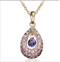 women fashion Imitation diamond crystal water drops necklace xl085