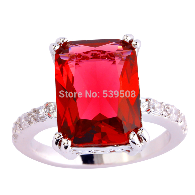 Women's Christmas Gift Free Shipping Fashion Wholesale Ruby Spinel & White Sapphire 925 Silver Ring Size 7 8 9 10(China (Mainland))