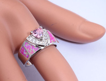 Beautiful Wholesale Jewelry Pink Fire Opal Pink Topaz Cubic Zirconia Silver Ring Size 5 6 7