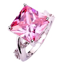 Art Decco Women's Wholesale 305R8-7Princess Cut Pink & White Sapphire 925 Silver Ring Jewelry Size 7 Free Shipping