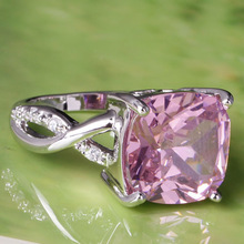 Art Decco Women s Wholesale Princess Cut Pink White Sapphire 925 Silver Ring Jewelry Size 7