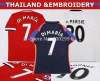 A+++ Thailand Quanlity 14 15 Di maria Soccer Jerseys Men Red Shirt  2015 Flaco Rooney V persie Rojo Blind Herrera Futbol Camisa