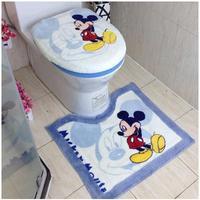 Free shipping Cartoon bathroom thickening plush toilet three piece set toilet seat cover potty pad toilet set cover U shape mat
