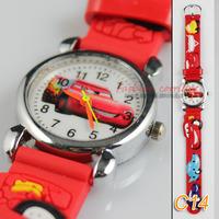 Free & drop Shipping 2pcs/lot hot sales fashion Cute 3D Cartoon red Fashion boys kids Children Students Quartz watch