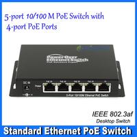 5-port Desktop Ethernet Switch 10/100 PoE Switch with 4- port PoE Switch  48VDC 72W DS-1000P-AF