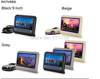 2x 9 Inch Car Headrest DVD Player,FM,IR,USB,SD,Wireless Game,MP3/MP4/MP5/DVD Player Auto Headrest Monitor