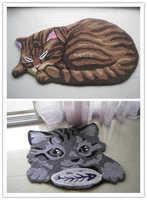 "Free shipping  high quality handmade washable cartoon art rug/Mat/Carpet   "" CAT"" 85*45cm"