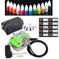 OPHIR Nail Tools 0.3mm Airbrush Kit Mini Air Compressor for Nail Art Airbrushing Stencil & Bag & Cleaning Brush Set #OP-NA001G