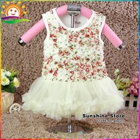 Sunshine Store #7A0171 3pcs/lot Rosette Girls Flower Dresses Shabby Flower Party Dresses Baby Clothes Ruffle Baby Rompers Outfit