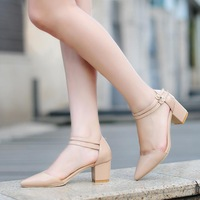 2014 South Korean version of the new summer and wind sharp rough heels a variety of pure Adhesive Pointed Toe women sandals