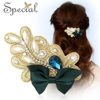 Special Handmade Silk Bow Knot Hair Pins Elegant Pearl Hair Clip For Girls Women Wholesale FS141160