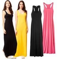 S-XL Summer Tank Long Dresses for Women 2015 New bohemian style Modal Sleeveless Beach Vest Strap Maxi Dress