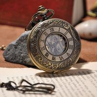 2014 High Quality Vintage Mechanical Hand Wind Pocket Watch Men Fashion Skeleton Steampunk Watch