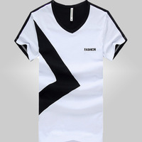 2015Free shipping t shirt men new arrival  geometric pattern short sleeve O-Neck casual men t shirt with good quality 23