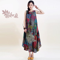 [ LYNETTE'S CHINOISERIE - Sang ] 2014 Summer Women National Trend 100% Cotton Prints Patchwork Bohemia Style Sleeveless Dress