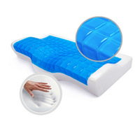 FREE SHIPPING factory direct 60x33x11/7cm 100% spandex swimming cloth squishy memory anti-snore pillow cool gel (blue and white)