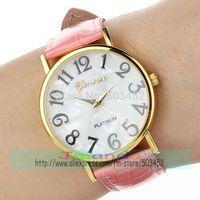 100pcs/lot Wholesale Price Geneva Brand Casual Leather Watch Gold Case Big Digital Quartz Watch Wrap Dress Wristwatch 6 Colors