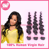 3Pcs Lot Unprocessed Malaysian Loose Wave Hair Weave, 6A Natural Black Virgin Hair  Extension 8-32 inches machine weft Instock