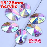 100pcs 18x25mm Acrylic Oval Crystal AB Sew On Stone With Claw Setting Flatback Rivoli Sewing Rhinestones 2 Holes Free Shipping