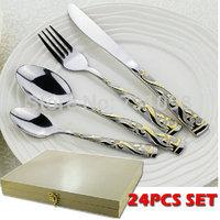24pcs stainless steel dinning fork dinner spoon dinner knife tea psoon wooden case flatware set