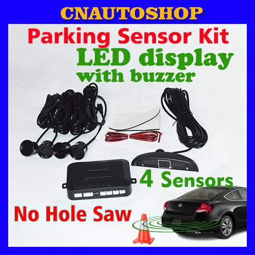 LED Display 4 Sensors No Hole Saw Drill Car Parking Sensor Kit 22mm 12V 7 Colors Reverse Assistance Backup System Free Shipping(China (Mainland))