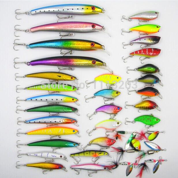 35pcs/set Mixed 7 style fishing lures set kit Minnow/ Crankbait /Spinner bait /Big Game/Vib /wobbler artificial fishing tackle(China (Mainland))
