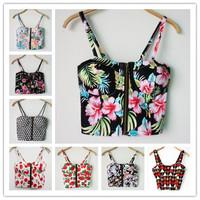 2014 Women Sexy Vintage Floral Cherry Print Bra Bustier Crop Top, Cheap Flower Camisole Halter Tank Top Cropped Roupas Femininas