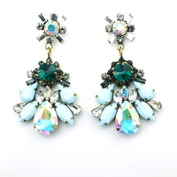 New Fashion accessories bling vintage shourouk crystal drop women flower drop Earrings shourouk bijoux brincos Free shipping