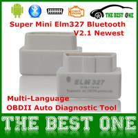 Drop Shipping Super Mini Elm327 Bluetooth Work On Android Torque White Mini Elm 327 V2.1 OBDII Scanner Car Diagnostic Tool