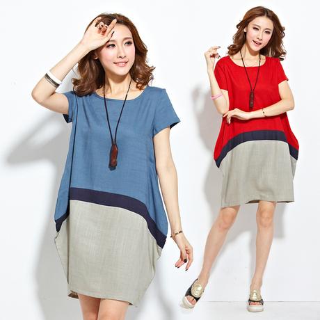 2014 neue umstandskleid plus size xxl leinen sommer kleidung koreanisch farbblock kleidung für schwangere Schwangerschaft tragen