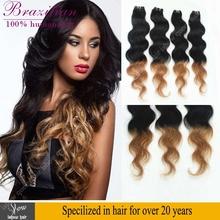 ali queen hair brazilian virgin hair body wave ombre 1b 27 4/5/6pcs cheap 100% two tone human hair blond ombre human hair weave(China (Mainland))
