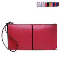 11 Candy Colors European Genuine Leather Women Wallets Large Capacity Zipper Long Wallet Women Phone Pouch Wrislet Purses 1120