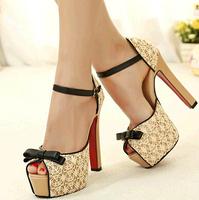 women high square heel platform pump shoes big size lace women pumps summer