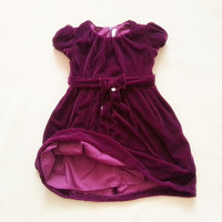 Retail !  fashion velvet dress for  girls bowknot one-piece children's party dress burgandy and navy for spring/ autumn/ winter