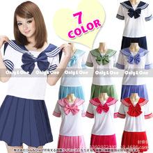 8 colori uniformi scolastiche giapponesi sailor tops + tie + skirt stile del blu marino di studenti vestiti per la ragazza più il formato lala cheerleader abbigliamento  (China (Mainland))