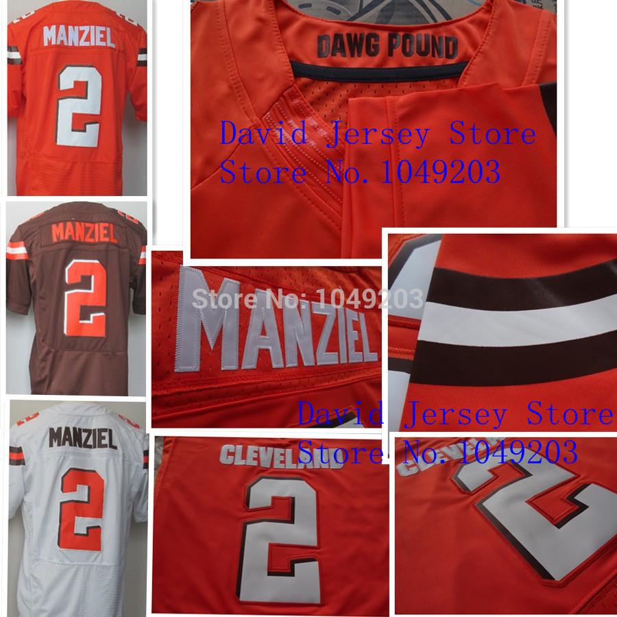 Johnny Manziel Jersey Elite White Orange Coffee 2014 Football Rookies Draft Jerseys Cleveland 2# Elite(China (Mainland))