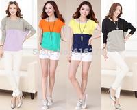 New 2014 spring autumn O-Neck plus size shirt decoration loose blouse women fashion t-shirts Free shipping B045 B101