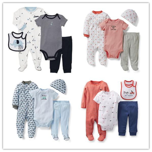 Retail,Carter's Baby Boys Elephant Model Romper + Bodysuit + Pant + Bib 4 Pieces Clothing Set,Carters Clothes Set, Free Shipping