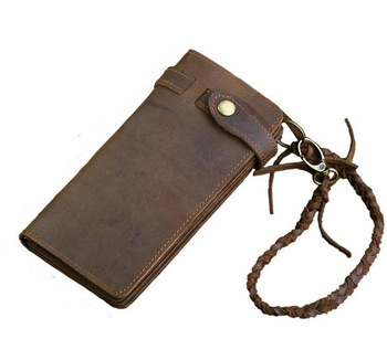 Designer Chain Leather wallet, Длинный Стиль Crazy Horse Natural Cowhide Vintage ...