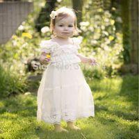 Free Shipping Lace Flower Girl Dress-Ivory Rustic dress- Baby Baptism Babydoll Dress