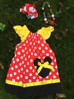 2014 new baby girls chevron dress polka dot dress pillow case dress minnie dress with bow and necklace