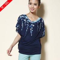 Floral Print All-match Top Loose t-shirt 4XL 5XL Women t shirt 2014 summer batwing Tee shirt short-sleeve cotton 100% T-shirt